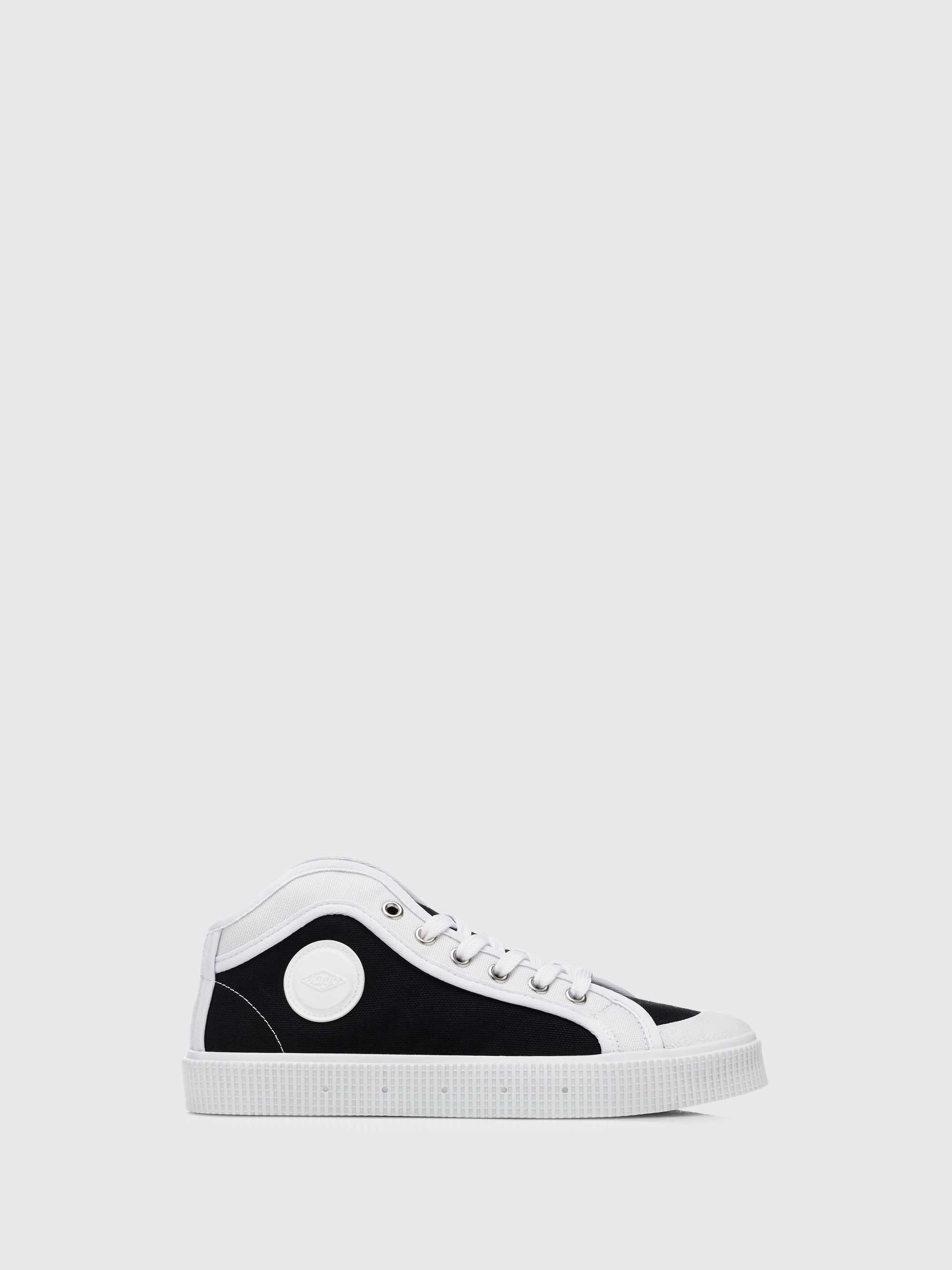 Sanjo Black and White Cordura Lace-up Trainers