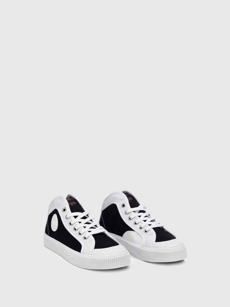 Black and White Cordura Lace-up Trainers
