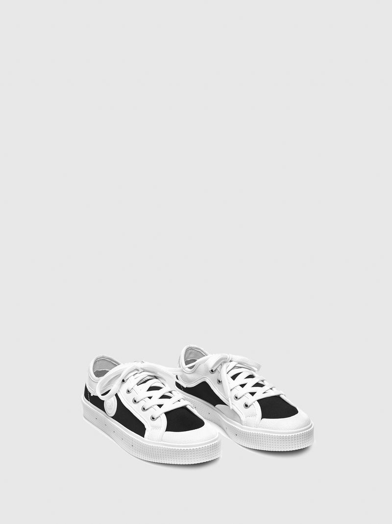 Sanjo Black White Lace-up Trainers