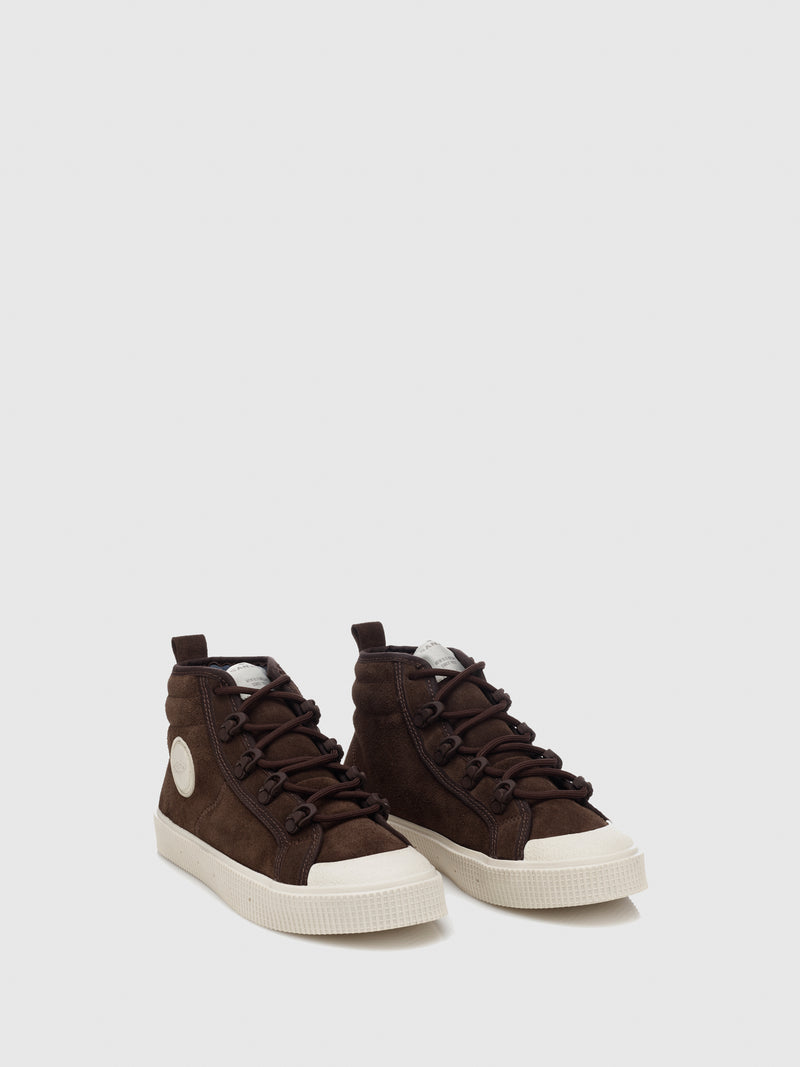 Sanjo Brown Suede Lace-up Trainers
