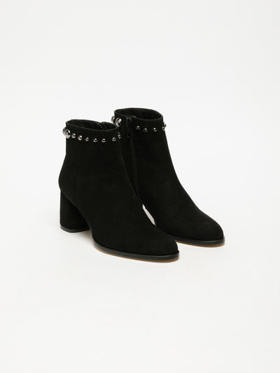 Sofia Costa Black Studded Ankle Boots