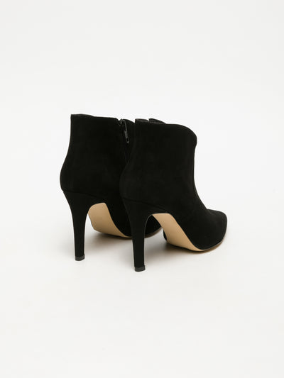 Sofia Costa Black Pointed Toe Ankle Boots