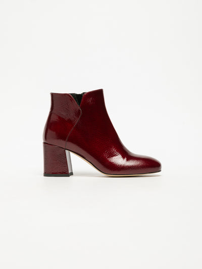 Sofia Costa DarkRed Zip Up Ankle Boots