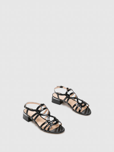 Sofia Costa Black Buckle Sandals