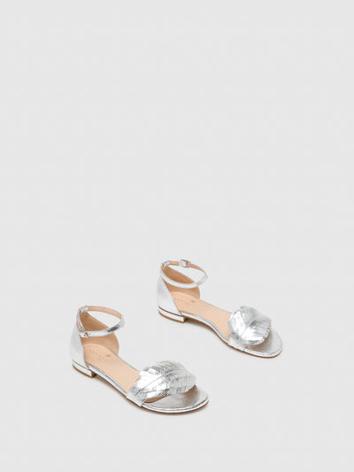 Sofia Costa Silver Ankle Strap Sandals