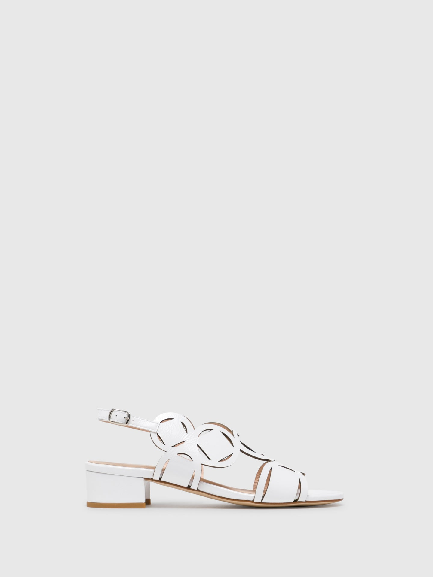 Sofia Costa White Buckle Sandals