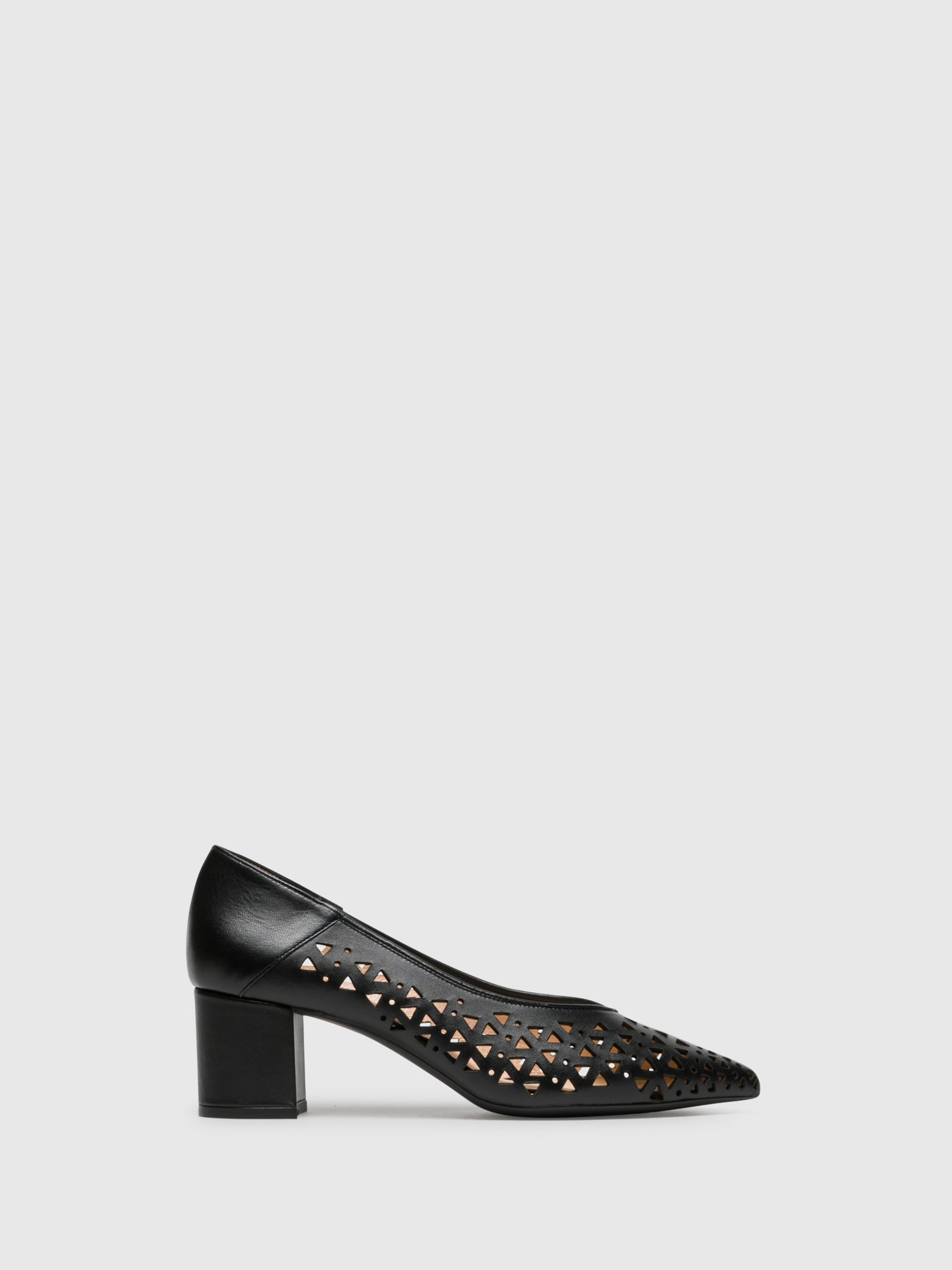 Sofia Costa Black Chunky Heel Shoes