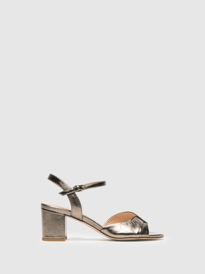 Sofia Costa Gold Ankle Strap Sandals