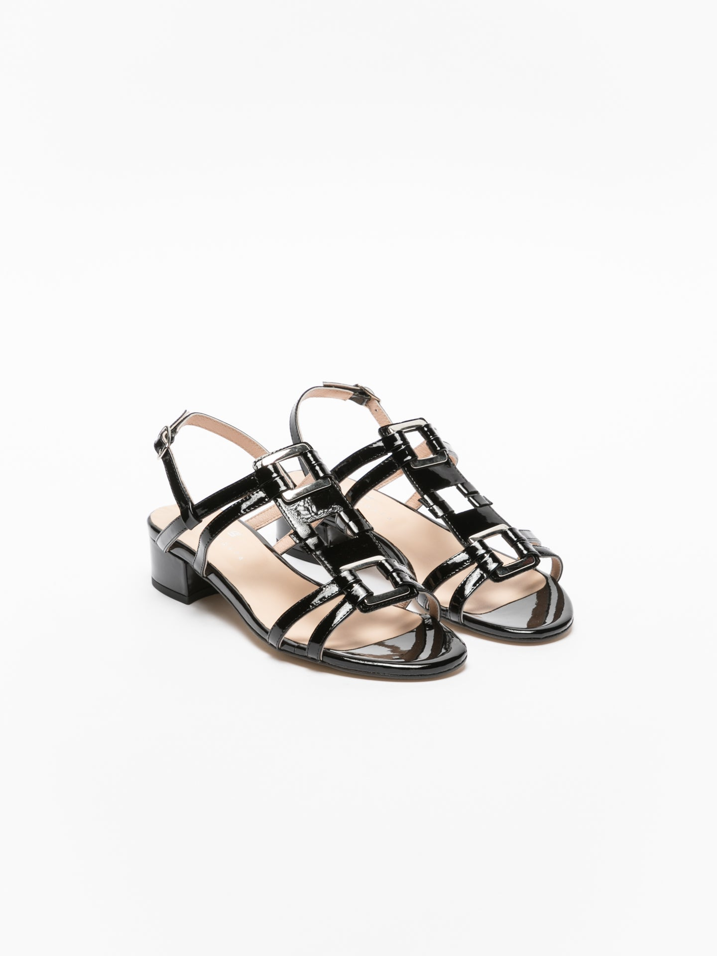 Sofia Costa Black Sling-Back Sandals