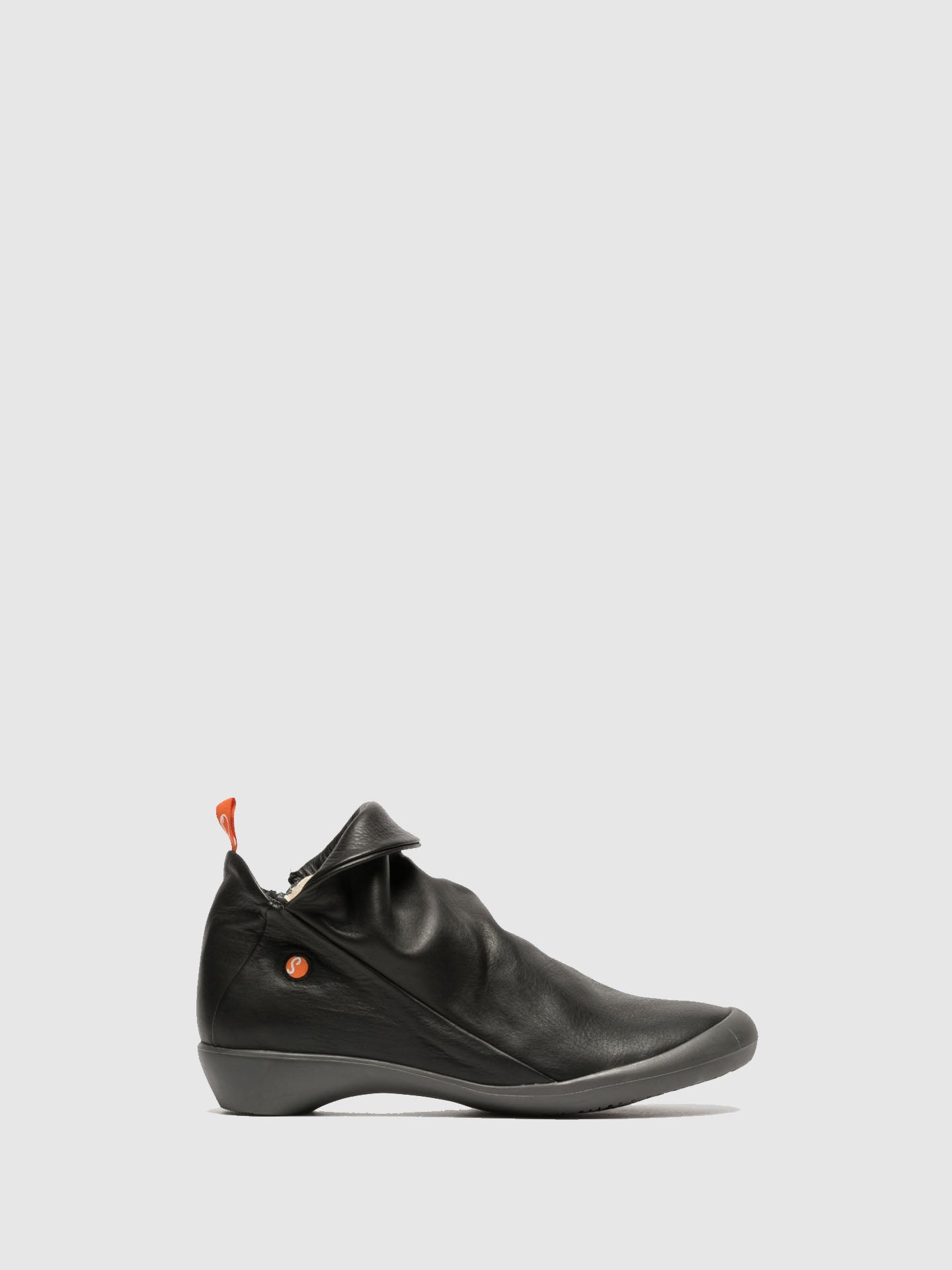 Softinos Matte Black Zip Up Ankle Boots