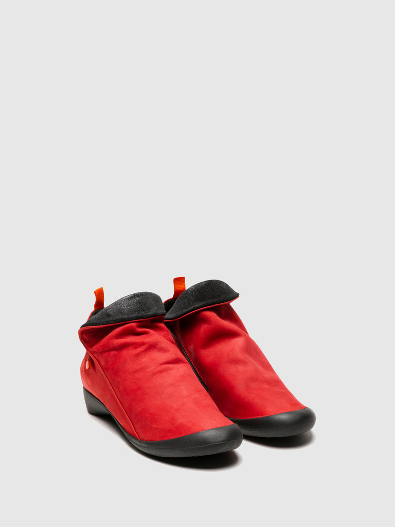 Zip Up Ankle Boots FARAH RED/ANTHRACITE