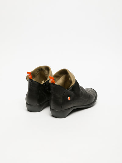 SOFTINOS Smoke Black Zip Up Ankle Boots