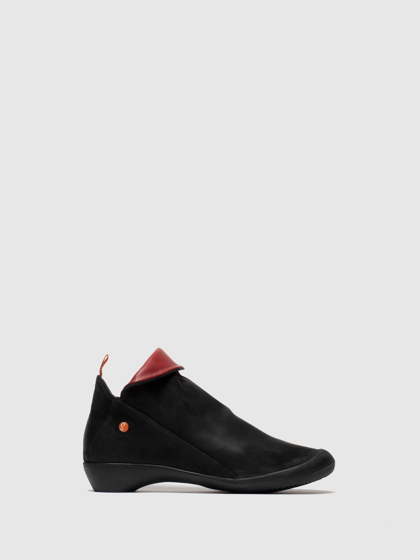 Softinos Zip Up Ankle Boots FARAH BLACK/RED