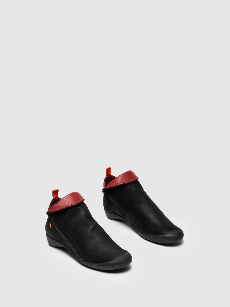 Zip Up Ankle Boots FARAH BLACK/RED