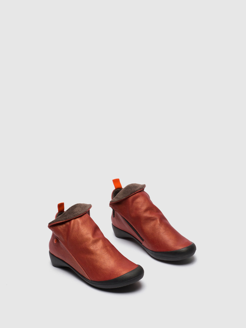 Softinos Red Leather Zip Up Ankle Boots