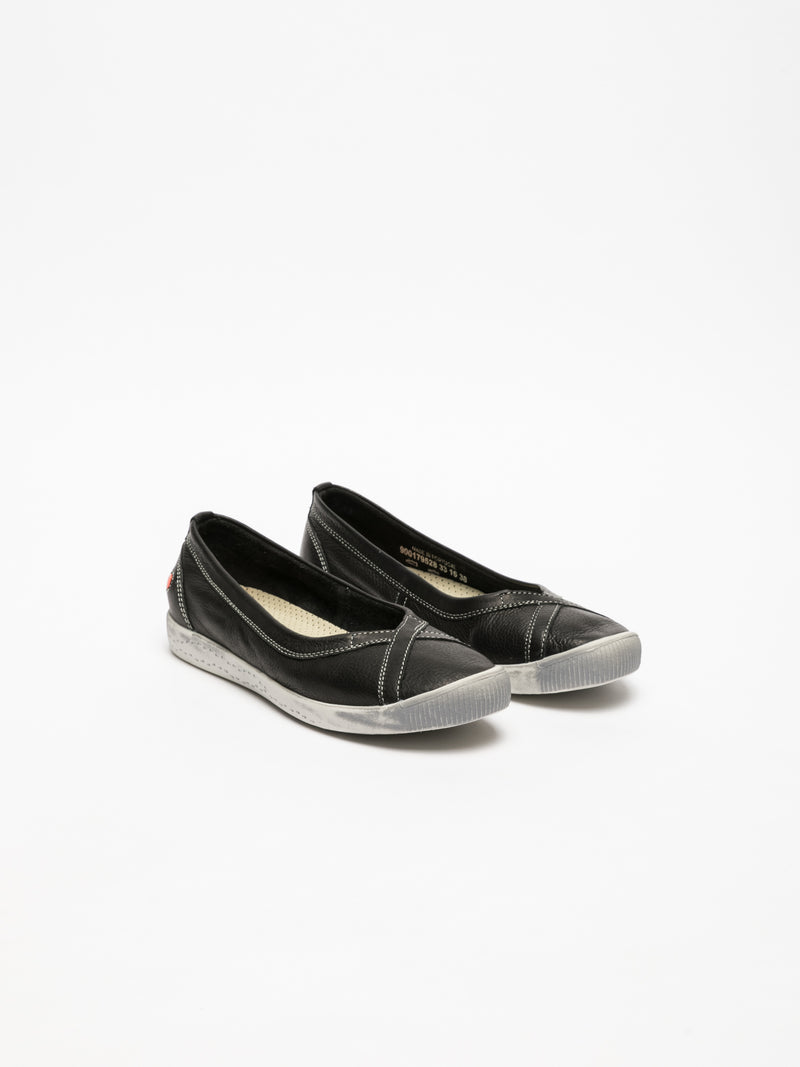 Softinos Black Round Toe Ballerinas