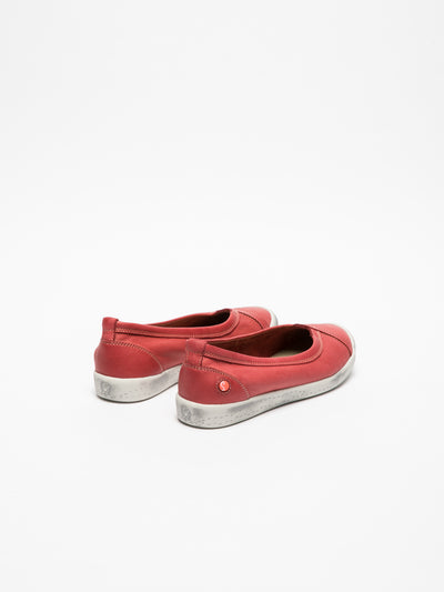 SOFTINOS Red Round Toe Ballerinas
