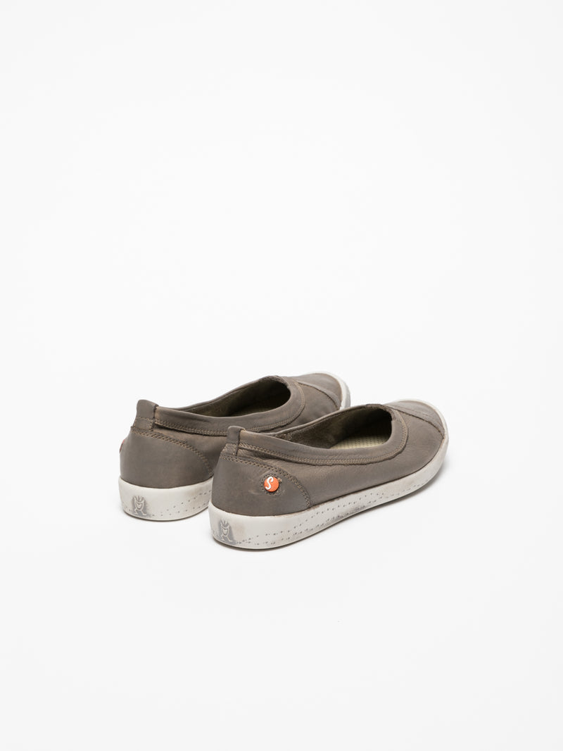Softinos Gray Round Toe Ballerinas