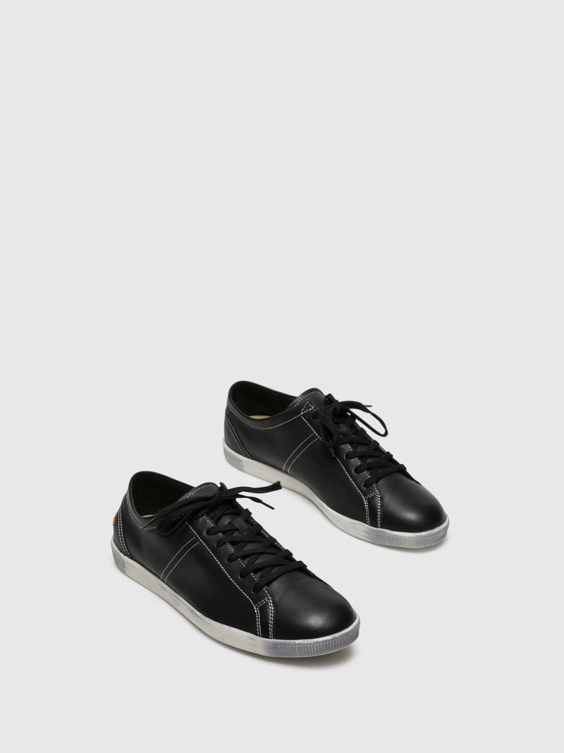 Softinos Black Lace-up Trainers
