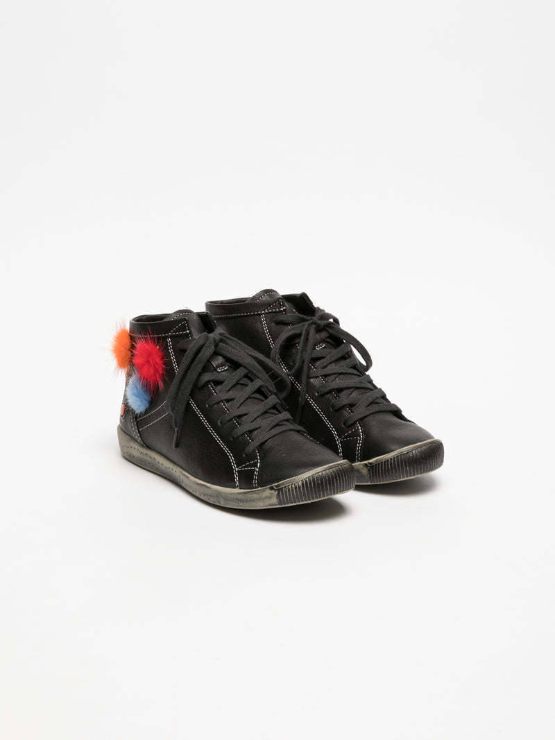 Softinos Coal Black Hi-Top Trainers