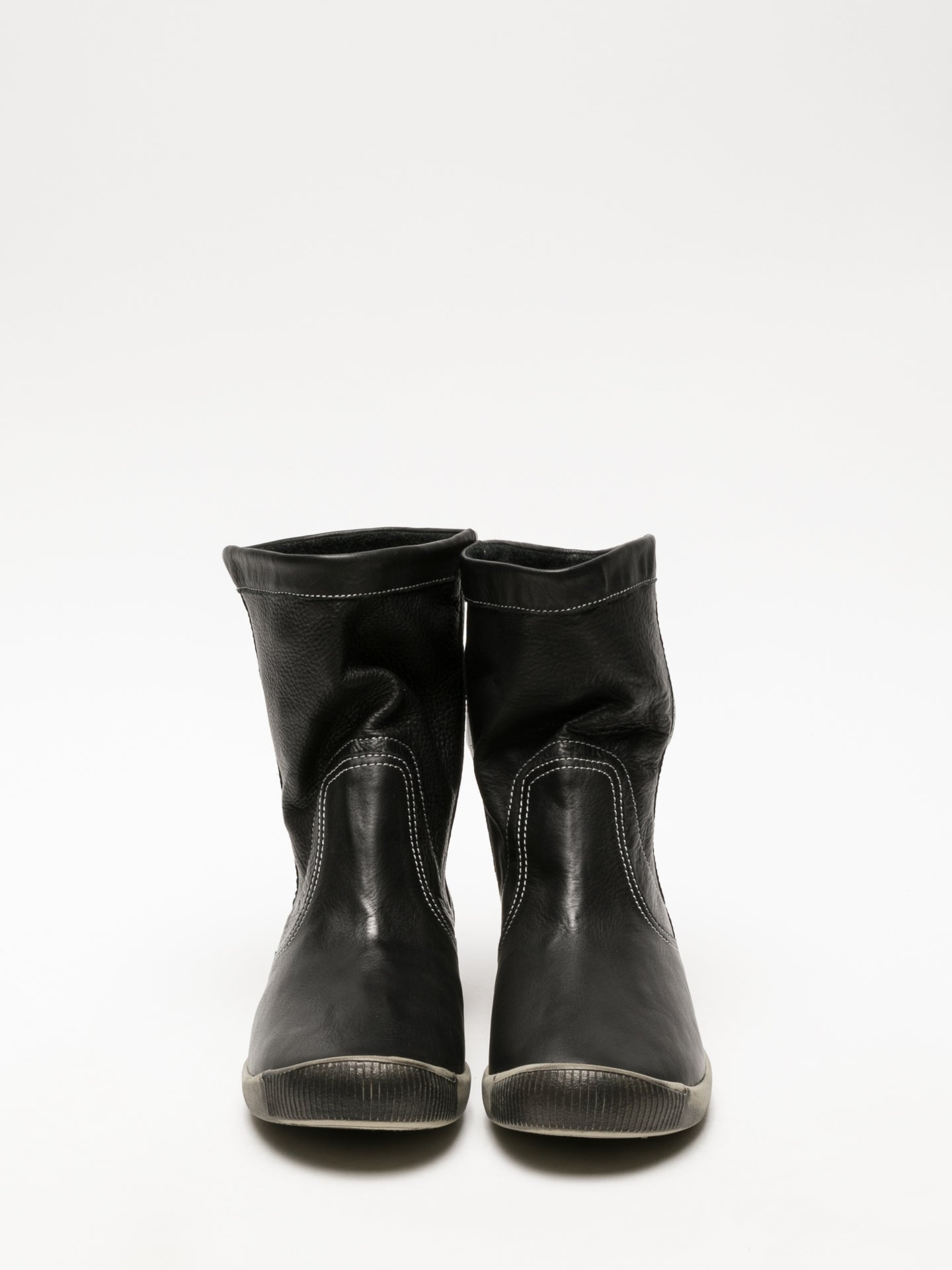 Softinos Black Round Toe Ankle Boots