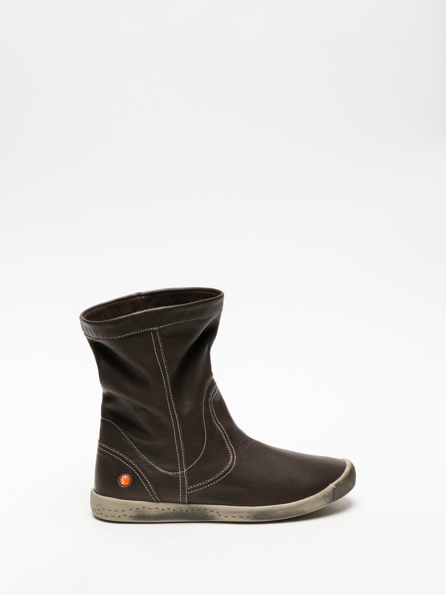 SOFTINOS Brown Round Toe Ankle Boots