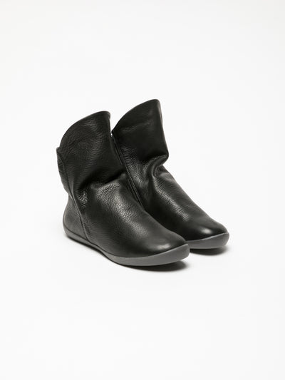 SOFTINOS Black Zip Up Ankle Boots