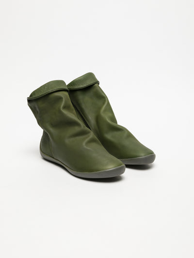 SOFTINOS ForestGreen Zip Up Ankle Boots
