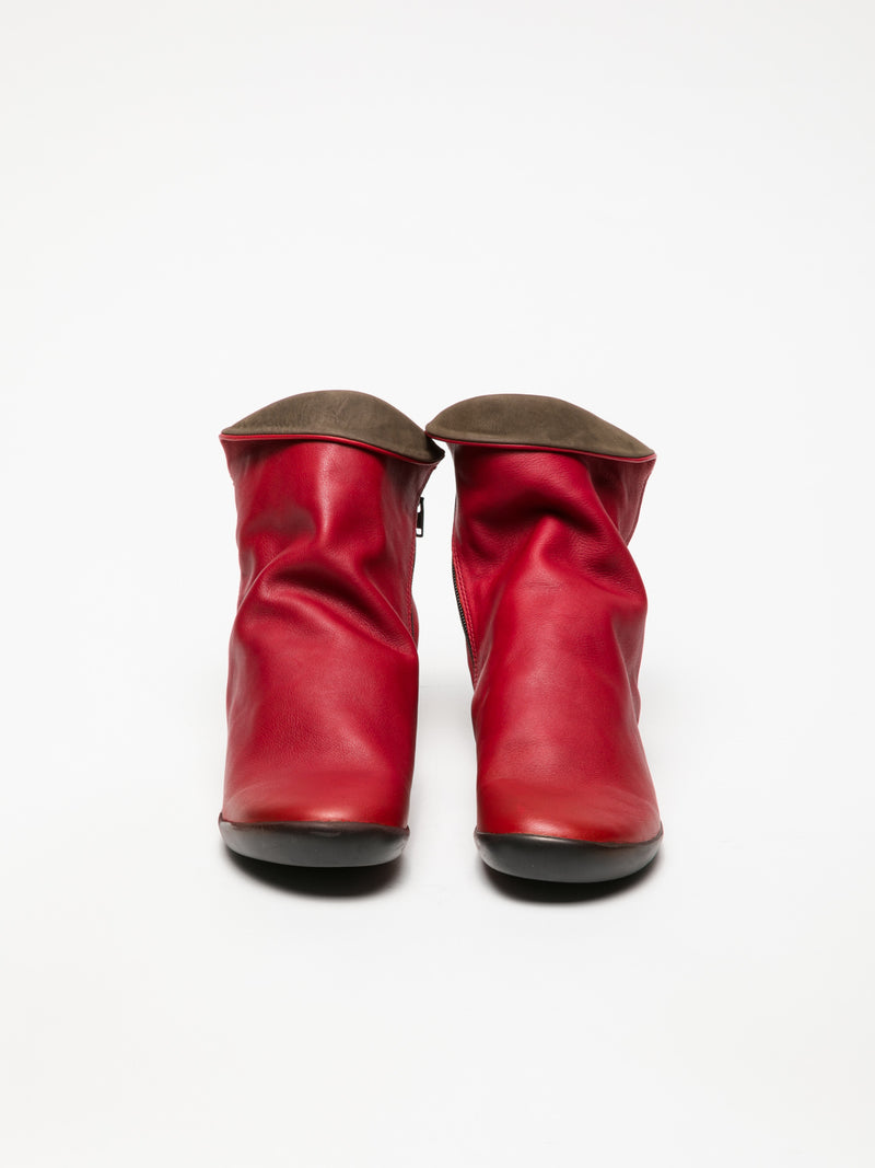 Crimson Zip Up Ankle Boots