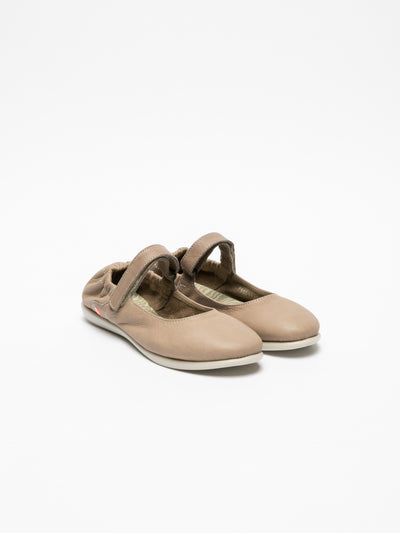 SOFTINOS Tan Elasticated Ballerinas