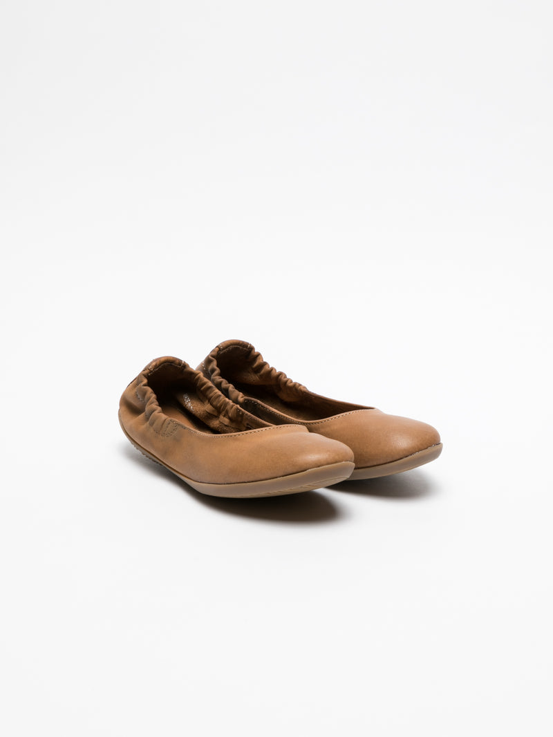 Softinos Brown Elasticated Ballerinas