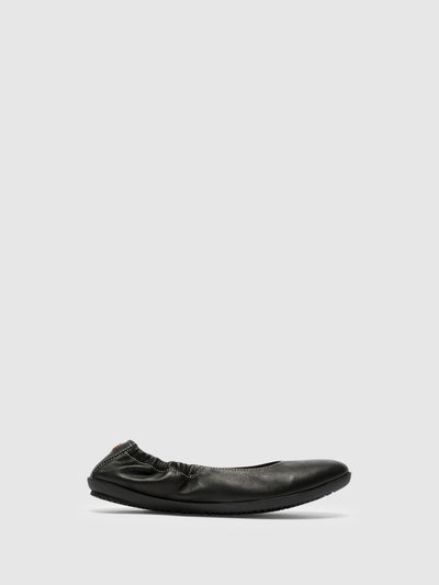 SOFTINOS Black Elasticated Ballerinas