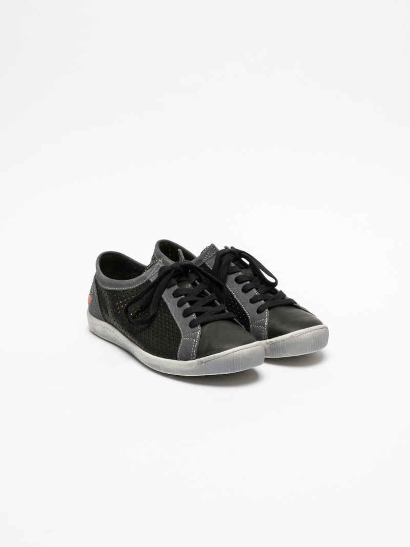 Gray Black Lace-up Trainers