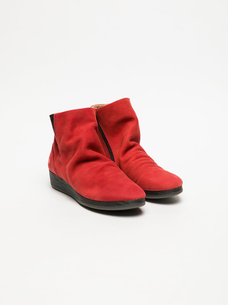 Red Wedge Ankle Boots