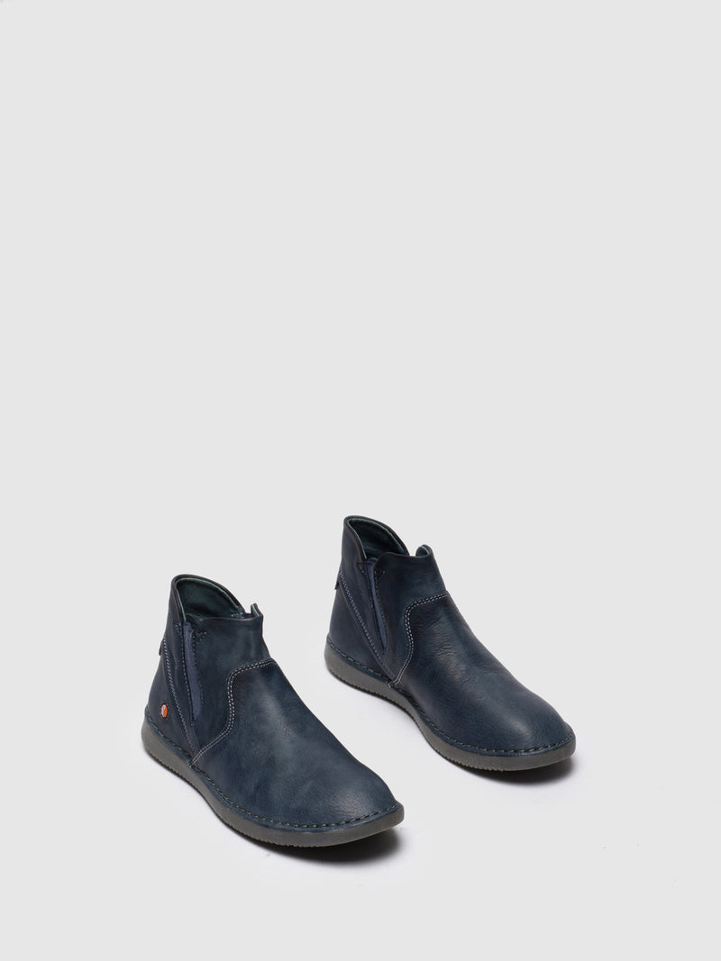 Navy Round Toe Ankle Boots