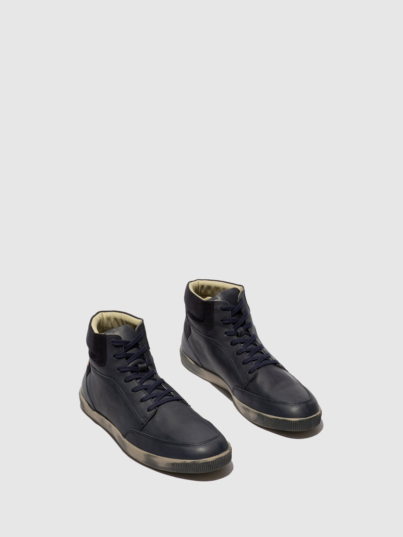 Softinos Navy Lace-up Trainers