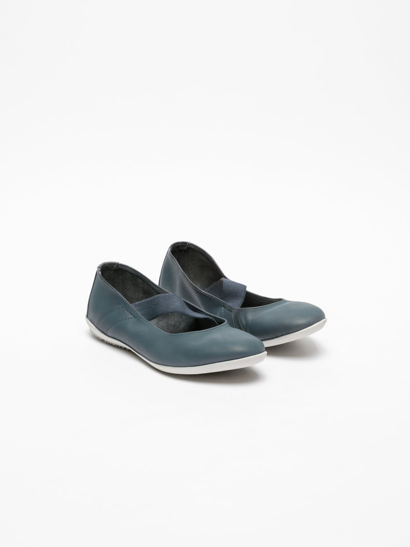 Navy Elasticated Ballerinas
