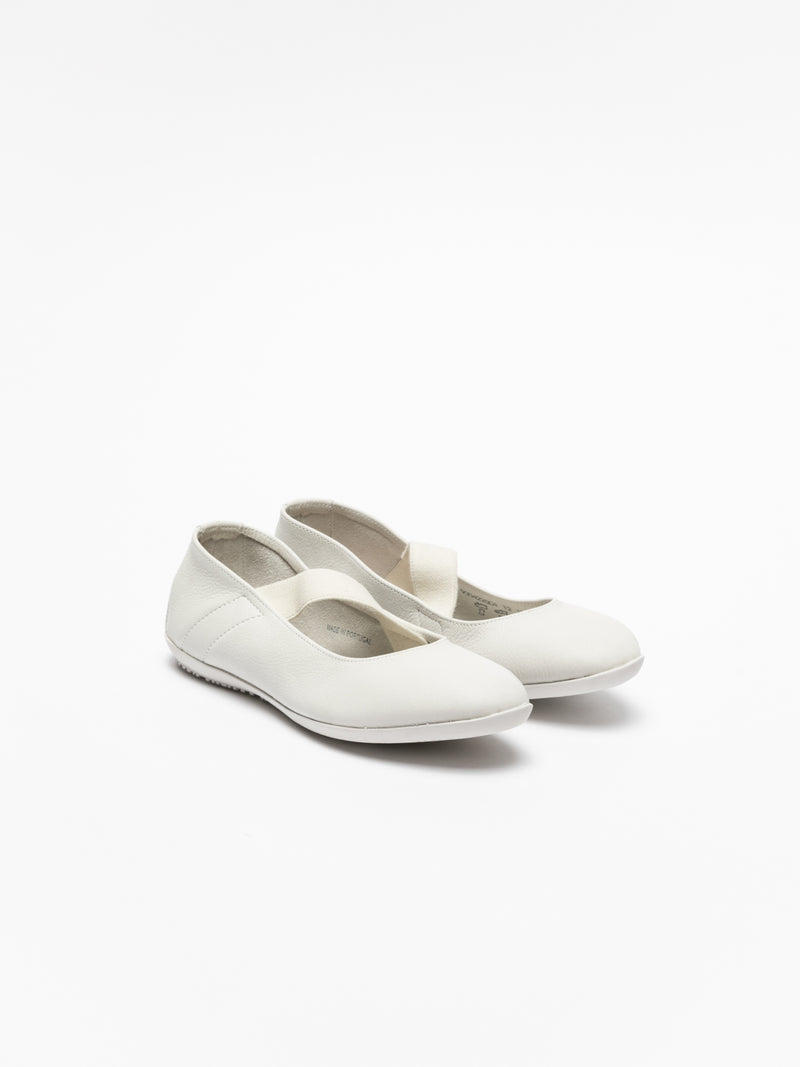 Softinos White Elasticated Ballerinas