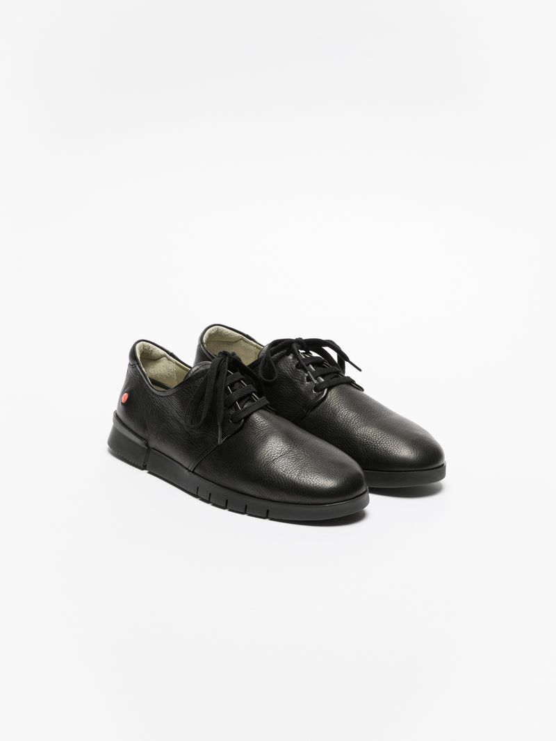 SOFTINOS Matte Black Lace-up Trainers