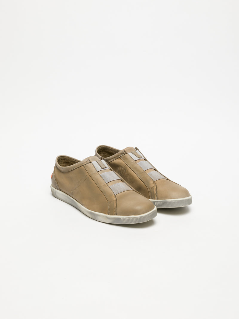 SOFTINOS Tan Elasticated Trainers