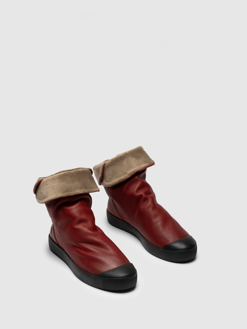 Red Round Toe Ankle Boots