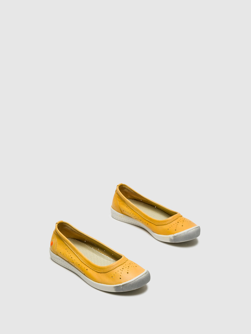 Yellow Round Toe Ballerinas