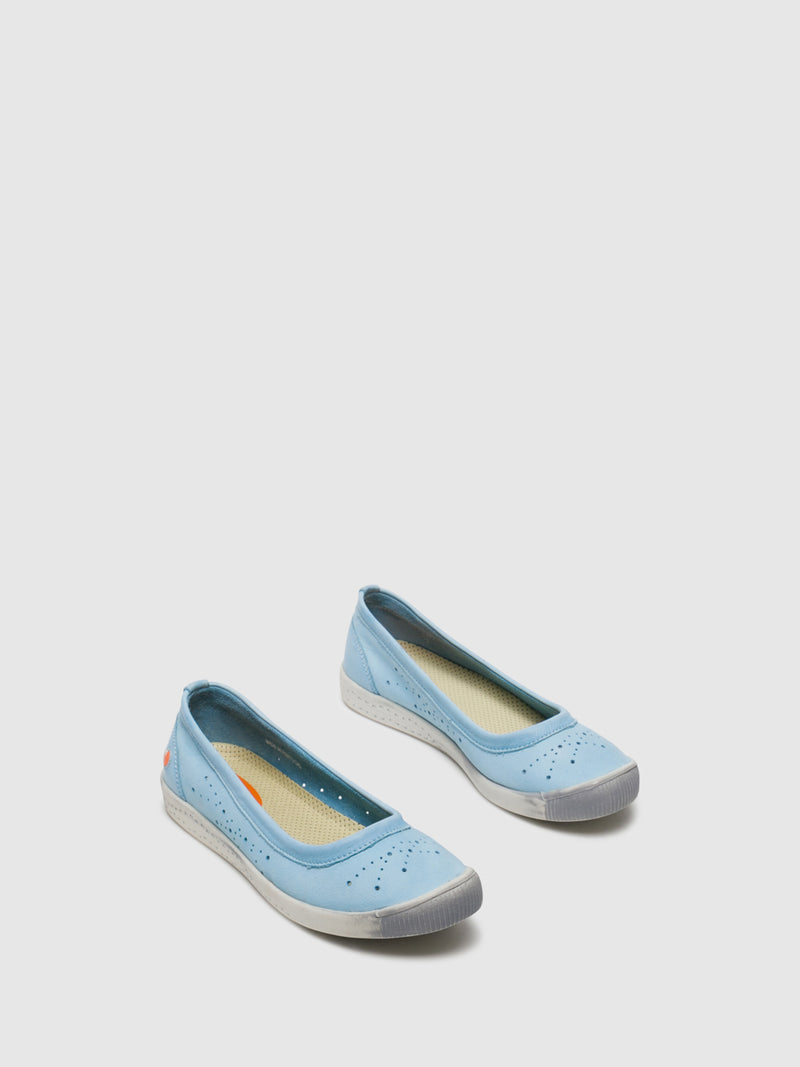 SOFTINOS LightBlue Round Toe Ballerinas