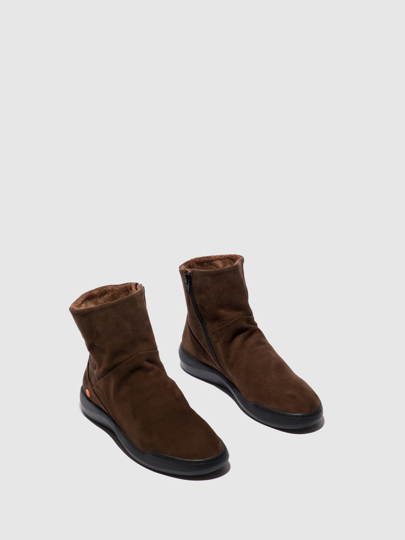 Softinos Zip Up Ankle Boots BLER550SOF BROWN LEATHER