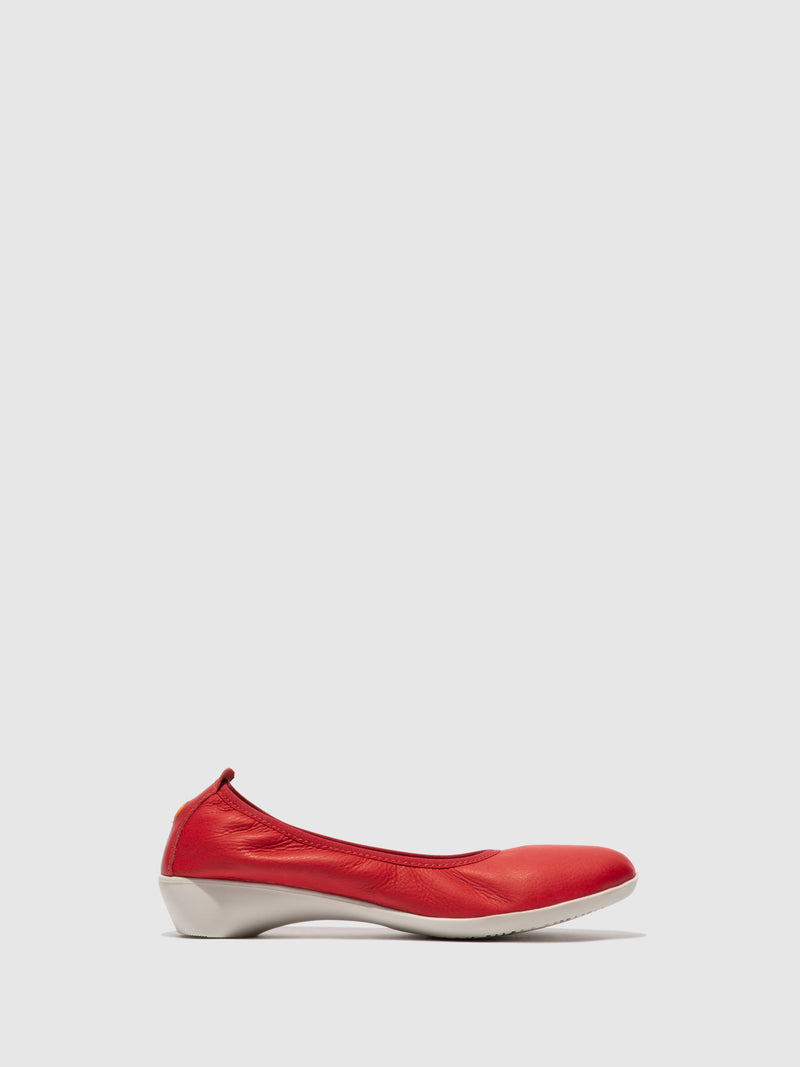 Softinos Elasticated Ballerinas GLOR566SOF SMOOTH CHERRY RED