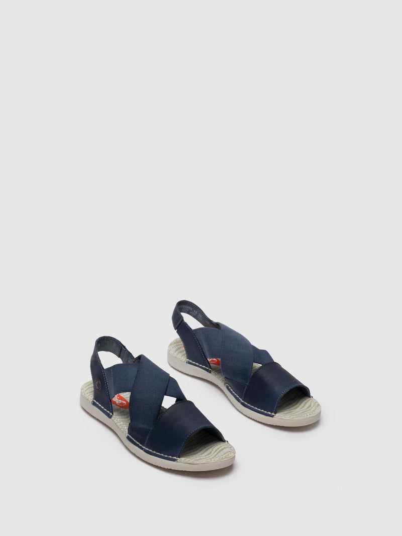 Navy Crossover Sandals