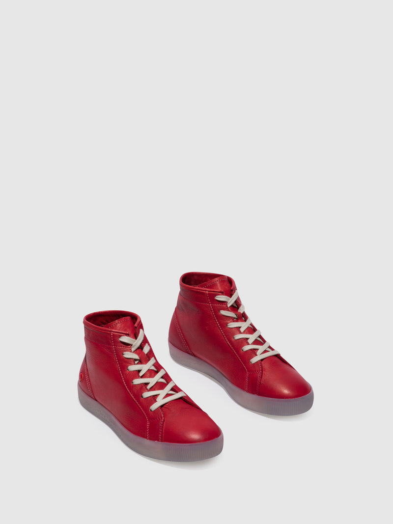 SOFTINOS Red Lace-up Ankle Boots
