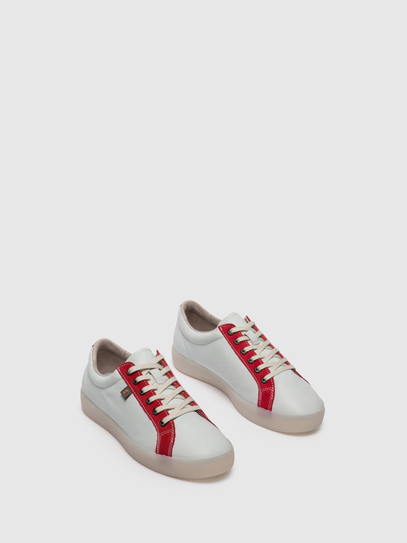 Softinos Lace-up Trainers SURY585SOF White/LipstickRed