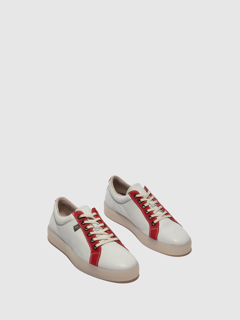 SOFTINOS Red White Lace-up Trainers