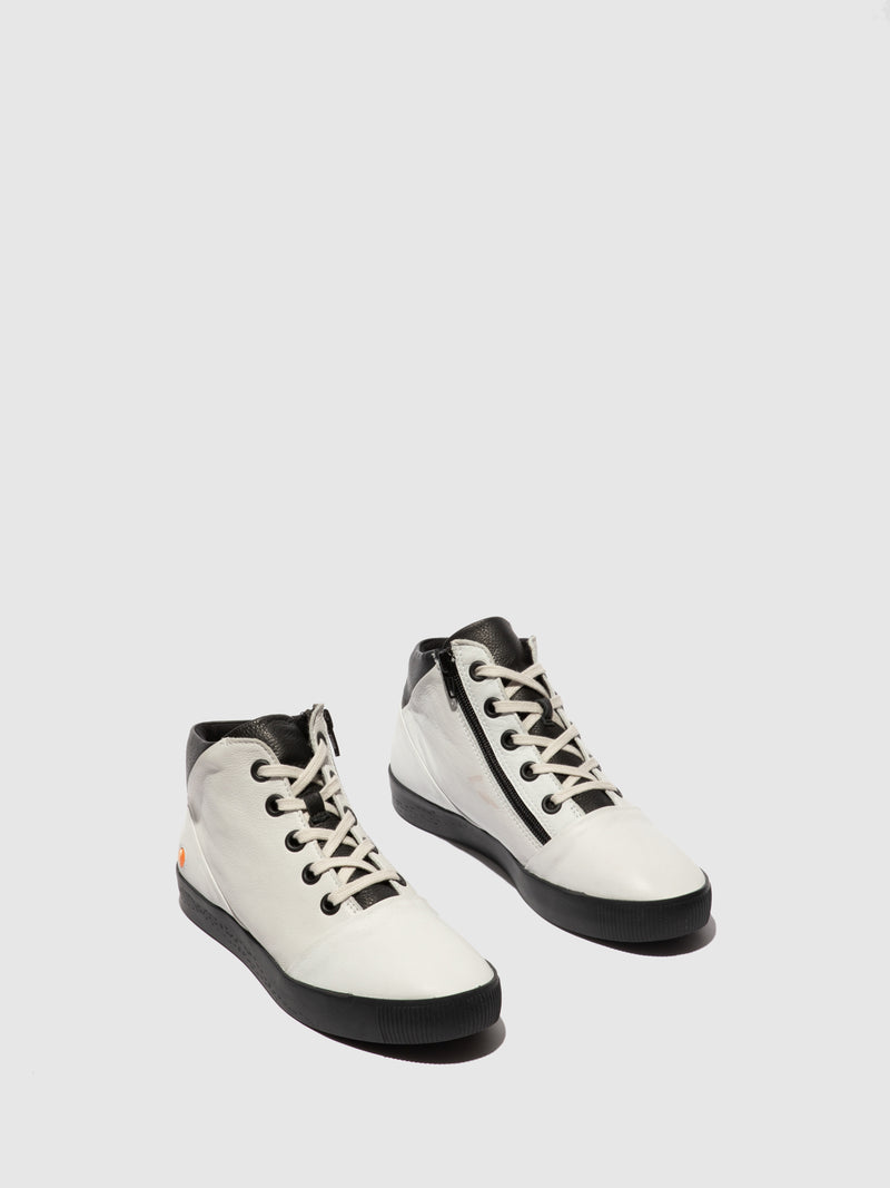 Zip Up Ankle Boots SHAY604SOF WHITE